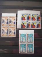 SOUTH KOREA 1967 Nr 485/487 BLOCS OF 4   /  MNH * * / COT. 48 € / FOLKLORE COSTUMS / Corée Du Sud - Corée Du Sud