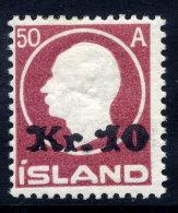 ICELAND 1925 Kr.10 On 50 A Surcharge LHM / *. Michel 120 - 1918-1944 Autonomous Administration