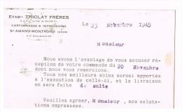 D18. SAINT-AMAND-MONTROND. CARTONNAGES ET IMPRESSIONS Ets THIOLAT FRERES.1945. D37 CHATEAURENAULT. - Saint-Amand-Montrond