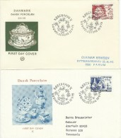 Danish Porcelain 200 Years.   2 Covers    Denmark.  Fdc. H-524 - Porcelain