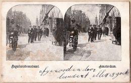 Pb012 Zeldzame Stereo-briefkaart 1900s AMSTERDAM Reguliersbreestraat Koets Met Paarden - Uitgave Louis LORJE - Amsterdam