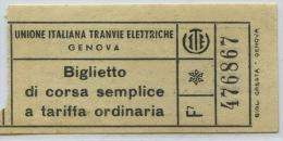BILLETE DE TRANVIA DE GENOVA - Tramways