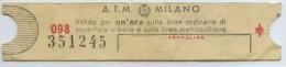 BILLETE DE TRANVIA DE MILAN - Tramways