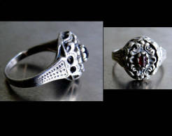 Bague Russe XIXème T60 - T61 / Old Russian Silver And Granate Ring - Rings