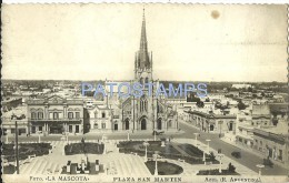10643 ARGENTINA AZUL BS AS SQUARE PLAZA SAN MARTIN & CHURCH IGLESIA SPOTTED POSTAL POSTCARD - Argentina