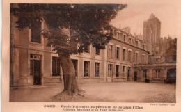 Cpa(photo Delassalle)  14  Caen , Ecole Primaire Superieure De Jeunes Filles , Ancien Batiment Et Tour Saint-jean - Caen