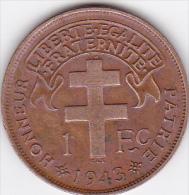 AFRIQUE EQUATORIALE FRANCAISE LIBRE. 1 FRANC 1943 . CUIVRE - Colonies