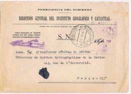 T9. Direccion General Del Instituto Geografico Y Catastral. Institut Géographique & Cadastral. Madrid 6 Set 51. - Franquicia Postal