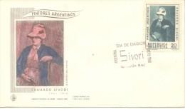 """PINTORES ARGENTINOS EDUARDO SIVORI 1847-1918 """"LA ESPOSA DEL PINTOR"""" FDC REPUBLICA ARGENTINA AÑO 1968 PEINTURE - Arte"""