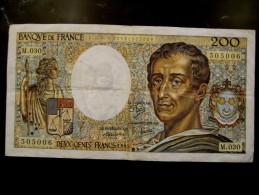 BILLET DE BANQUE FRANCE 200 FRANCS MONTESQUIEU - 1962-1997 ''Francs''