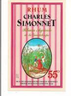 Etiquette RHUM   Agricole  - 55 % 1l -   Sica Les Grands Rhums Charles Simonnet - Grosse Montagne -  GUADELOUPE - - Rhum