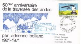 Argentina  -  Adrienne Bolland (aviatrice)  -  Traversée Des Andes   -  1er Jour Carte   -  FDC - Avions