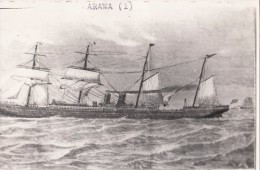 POSTCARD ARAWA STEAM SHIP STEAMSHIP NEW ZEALAND INTEREST WILLIAM DENNY AND BROTHERS Dumbarton - Steamers