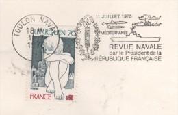 83  TOULON NAVAL  Revue Navale Par Le Président De La République Française Méditerranée  11 Juillet 1976  11/07/76 - Postmark Collection (Covers)