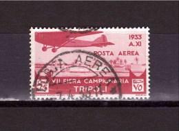 LYBIA - FORMER ITALIAN COLONIES  7° TRIPOLI FAIR 30 Cent SASSONE Cat N° A9 AIR  Genuine Cancellation FINE USED - Libya