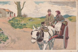 POSTCARD HORSE AND CARRIAGE Pat MacCormack Artist SIGNED DONKEY AND CART 1945 - Unclassified