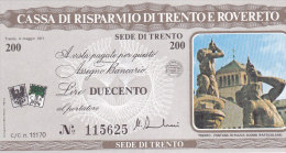 Min Cheque Sede Di Trento Lire 200 (FDC, UNC, Perfect) - [10] Cheques Y Mini-cheques