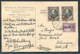 1932 Greece Scampavias Doctor Rechtsanwalt Athens Postcard Provisionals Overprints - Covers & Documents