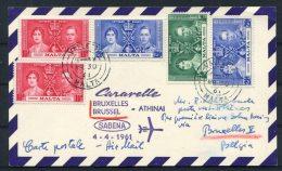 Malta 1937 Coronation Set On 1961 Sabena Caravelle Airmail Flight Postcard - Athens Greece - Malta
