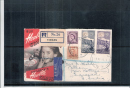 Registered Cover From Timaru To India -1954 (to See) - Nouvelle-Zélande