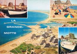LA GRANDE-MOTTE (Hérault) - Crépuscule Sur Le Port, La Plage Et Les Immeubles Pyramidaux, Le Port + Photo Aérienne - Francia