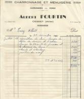 FACTURE ALBERT FOURTIN CHARRONNAGE ET MENUISERIE à CESSET (ALLIER) 1950 - 1950 - ...
