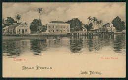 Divisão Naval / Boas Festa LUIZ PETRONY Loanda / Luanda ANGOLA. Selo D.Carlos Old Postcard AFRICA 1900s - Angola