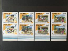 Rwanda - 1384/1387 - En Paire Avec BDF - Non Dentelé - Imperforated - 1991 - MNH - Rwanda