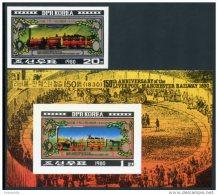 Korea 1980, SC #2003-04, Imperf 1V+S/S, Train, Locomotive - Trenes