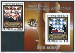 Korea 1980, SC #2009-10, Imperf 1V+S/S, World Chess Championship - Ajedrez