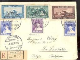 Enveloppe Vide 1929 / Romania Posta Aeriana - Brasov Central - 1918-1948 Ferdinand I., Charles II & Michel