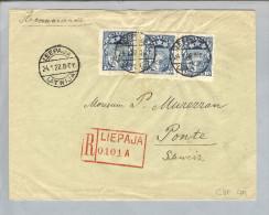 Lettland Leepaja 1922-01-24 R-Brief>Ponte GR Schweiz - Lettonie