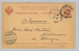 Lettland 1905-12-26 Ganzsache 4 Kop. Libau Nach Mühlhausen - Lettonie
