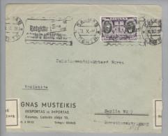 Litauen 1939-10-10 Kaunas Brief Nach Berlin Devisenkontrolle Getarnte Zensur OKW - Lituanie