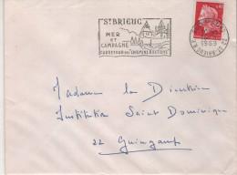 "Lettre Flamme Curiosité 22 St-Brieuc RP 16-6 1969  "" Tête Bêche, Couronne Renversée "" - Abarten Und Kuriositäten"