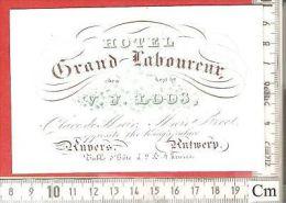 1 RARE PRINT ANVERS Loos Grand Laboureur Hotel Meir Adress Porcelaine Card Litho With Metalic Ink - LOOS C1840 à1870 - Cartes De Visite