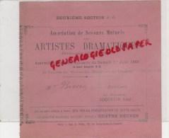 75 - PARIS - BILLET  ARTISTES DRAMATIQUES- 1ER JUIN 1901- THEATRE NOUVEAUTES-BD ITALIENS- BISSEN- COQUELIN AINE - Tickets D'entrée