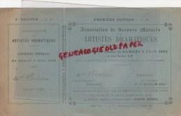 75 - PARIS - BILLET  ARTISTES DRAMATIQUES- 1ER JUIN 1900- THEATRE NOUVEAUTES-BD ITALIENS- BISSEN- COQUELIN AINE - Tickets D'entrée