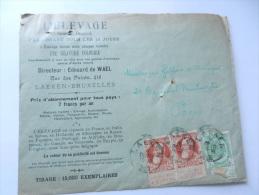 L ELEVAGE  RUE DES PALAIS 415 BRUXELLES 1909 - Marcophilie
