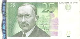 BILLETE DE ESTONIA DE 25 KROONI DEL AÑO 2002 SERIE BY (BANK NOTE) - Estonia