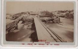 CDV Photo Originale  XIXème BIARRITZ La Digue Vue Du Rocher De La Vierge - Old (before 1900)
