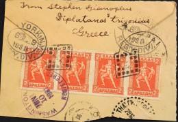 Fragment D'Enveloppe 1931 - 4 Timbres Gréce - Nombreux Cachets Et Tampons - Maschinenstempel (Werbestempel)