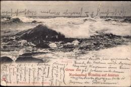 GRUSS AUS NORDSEEBAD WITTDUN AUF AMRUM, GERMANY ~ Pu1902 ~ ROUGH SEAS - Greetings From...