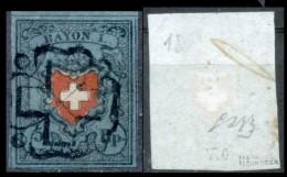 Svizzera--MF-0002 - 1850 - Y&T: N. 18 (o) - Privo Di Difetti Occulti. - 1843-1852 Poste Federali E Cantonali
