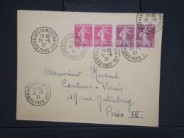 """ESPERANTO-Oblitération """" Esperanto En Moderna Vivo De Paris 1937"""" Sur Enveloppe Pour Paris Aff Plaisant  à Voir P6303 - Esperanto"""