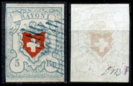 Svizzera--MF-0003 - 1851 - Y&T: N. 20 (o) - Privo Di Difetti Occulti. - 1843-1852 Poste Federali E Cantonali