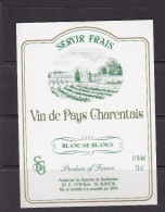 ETIQUETTE NEUVE VIN DE PAYS CHARENTAIS 1990 Blanc De Blancs Vignerons Goulbenèze 17 Burie - White Wines