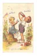 """CPA Illustration : G. BOURET """" Hep! Y´a Du Rab Pour Bibi?..."""" 2 Garçons Buvant à  La Bouteille - Bouret, Germaine"""