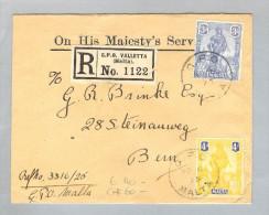 Malta 1925-11-06 R-Brief Valletta Nach Bern - Malte