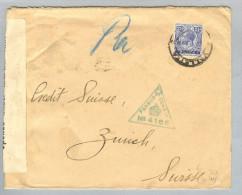 Malta 1918-09-14 Zensur-Brief > Zürich Bank - Malta
